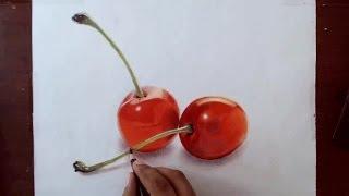 Drawing Cherries - Prismacolor Pencils