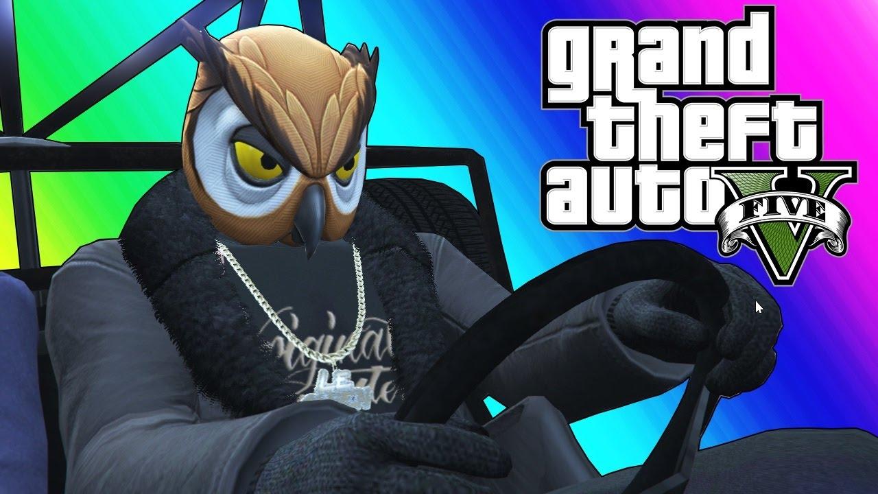 GTA 5 Online Funny Moments - Epic Rocket Car Stunts!