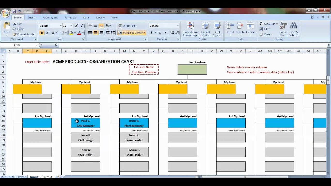 Excel Organization Chart Template Demonstration YouTube - Org chart template excel 2013
