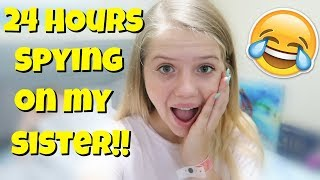 24 HOURS OVERNIGHT CHALLENGE SPYING ON MY SISTER || Taylor and Vanessa
