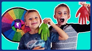 WHEEL of SLIME GLOVES CHALLENGE with HobbyKids!