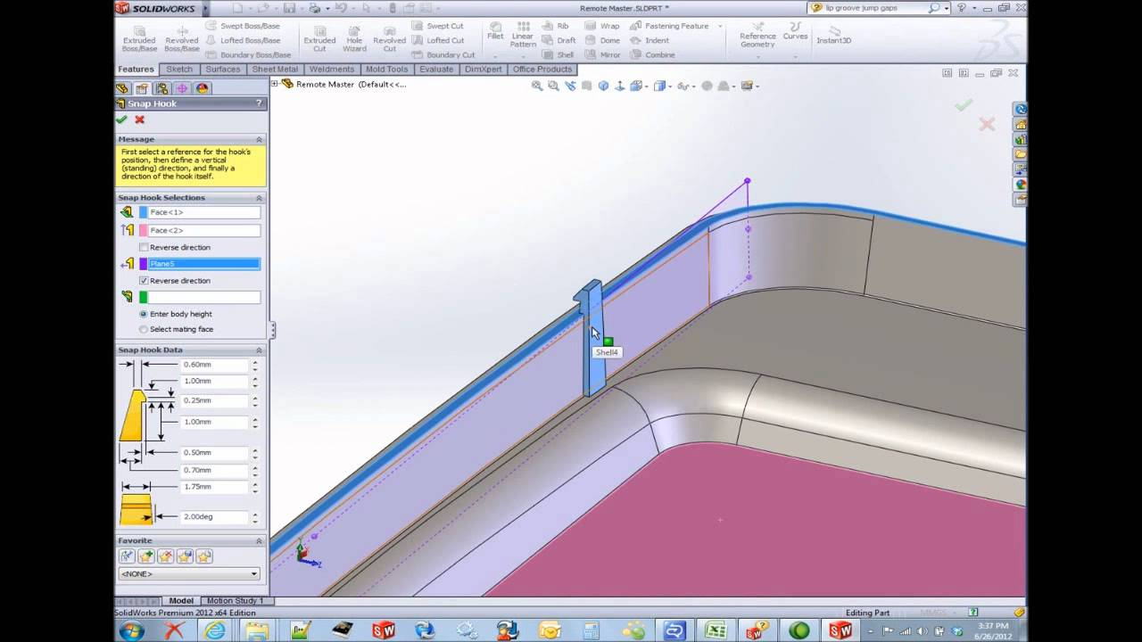 Solidworks Snap Hook And Groove Youtube