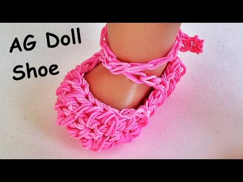 Rainbow Loom / American Girl Doll shoes / Ballet slippers Made with Loom bands