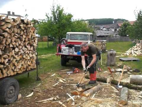Splitting firewood by hand