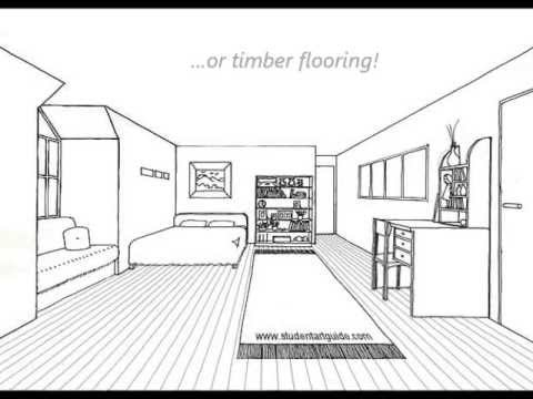 one point perspective room tutorial youtube. Black Bedroom Furniture Sets. Home Design Ideas