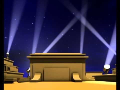 Opening Curtains Lights Flashing Stage Animation Studio  -  free HD video download