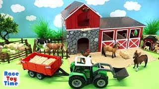 Farm Barn Playset For Horses and Fun Animals Toys For Kids