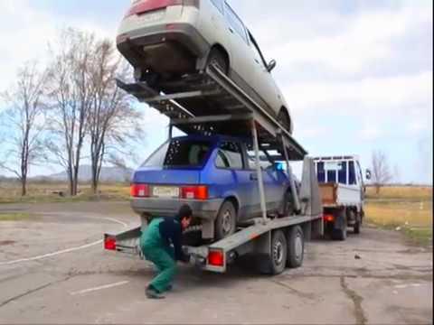 Прицеп автовоз легковой для перевозки двух автомобилей.