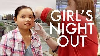 ESTHER GETS HER EARS PIERCED : GIRL'S NIGHT OUT : RV Fulltime w9 kids