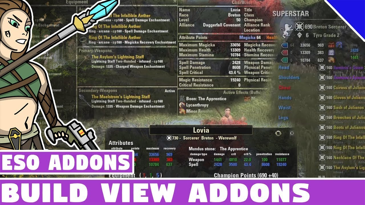 Best Eso Addons 2020.Build Views Addons Overview Superstar My Build Eso Addon Spotlight Eso Best Addons