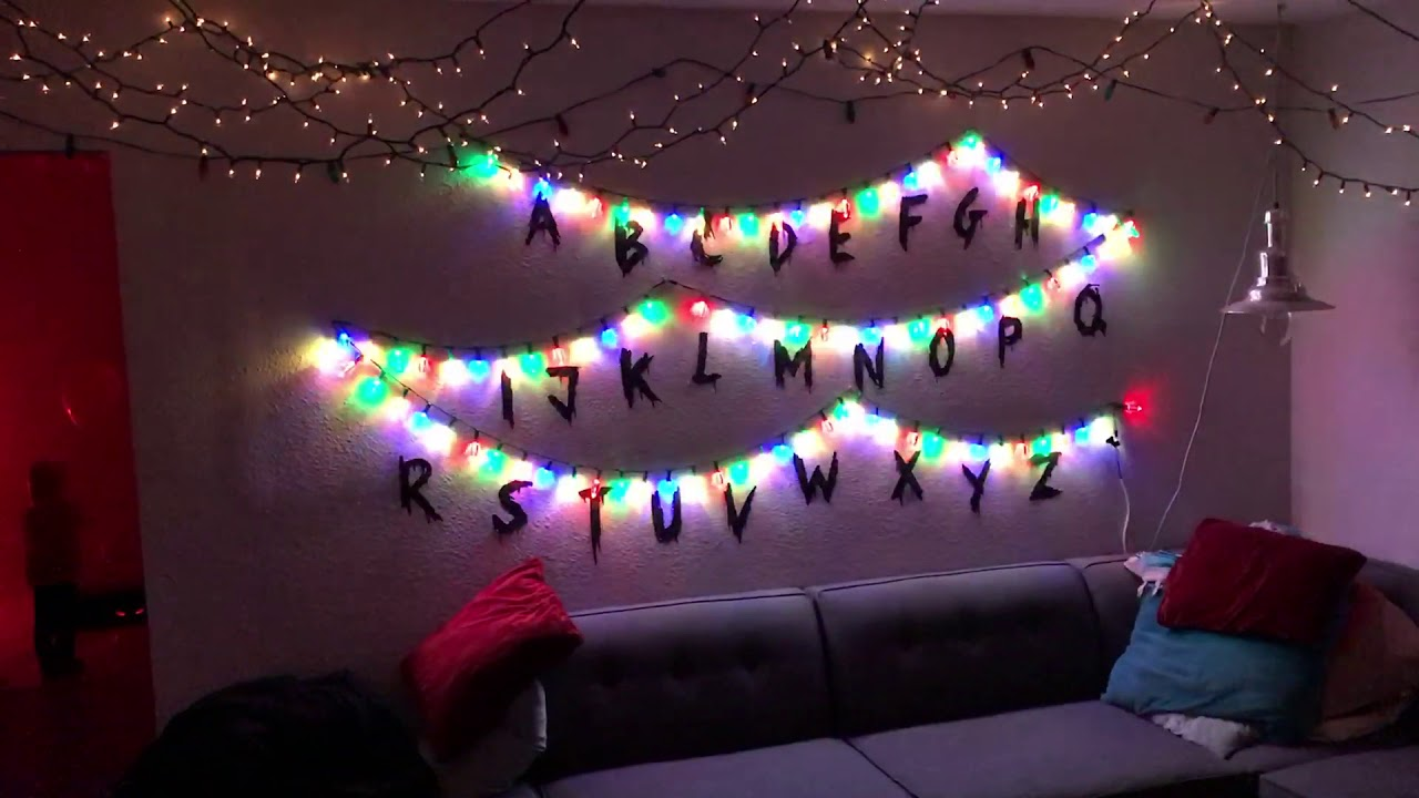 diy stranger things interactive christmas lights - Stranger Things Christmas Decorations
