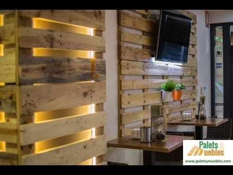 Palets y muebles decoraci n con palets reciclados youtube - Como forrar una pared con madera ...