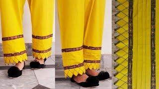 Stylish Trouser Design making with Anchor Thread & Tucks||Latest Sleeves and Daman design Stitching