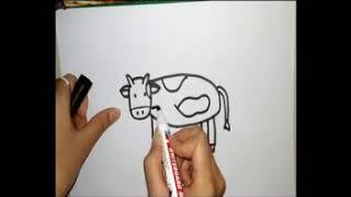 bé tập vẽ con bò sữa