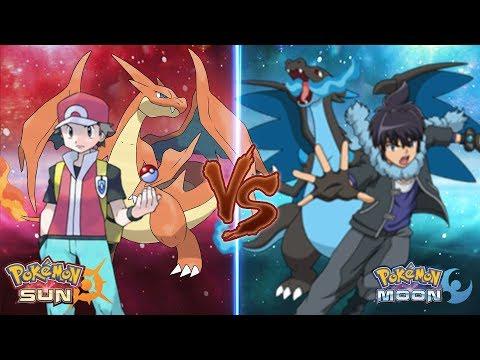 Pokemon Sun and Moon: Red Vs Alain (Mega Charizard Y Vs Mega Charizard X)