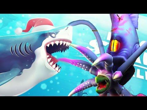 All Santa Claus Sharks Vs The COLOSSAL SQUID BOSS    Hungry Shark World