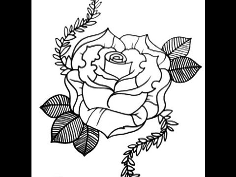 How To Draw A Rose New Skool Tattoo Style PART 1 YouTube