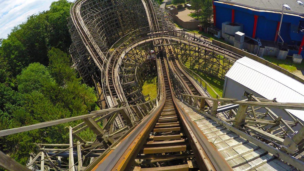 Bandit Wooden Roller Coaster Amazing 4k Resolution Pov