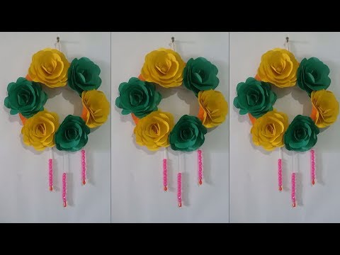 Wall decoration with paper - DIY paper wall hanging - Paper flower craft