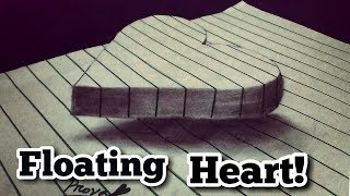 How To draw a 3D Floating Heart on line Paper. 3D Art Trick - Drawing a floating heart.Easy 3D Art.