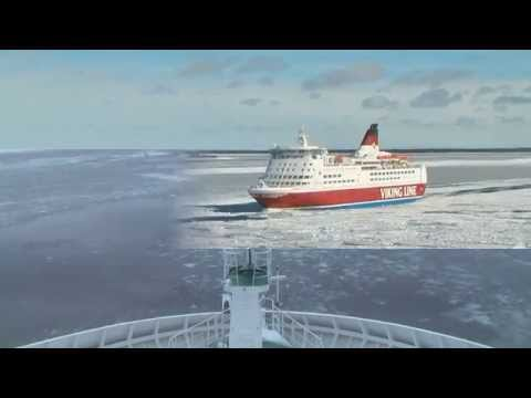 Cruising Viking Line ferries in the icy Baltic sea.