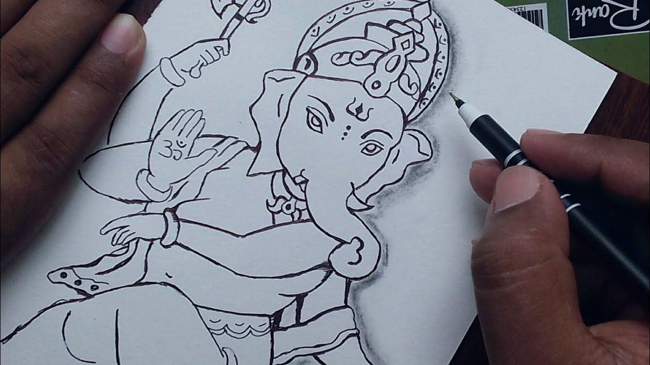 How To Draw God Ganesha Drawing Easy For Beginners Ganesh Chaturthi Special Drawing Youtube