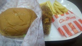 Chick King's Tandoori Chicken Burger + Fries + Fried Chicken Leg Combo