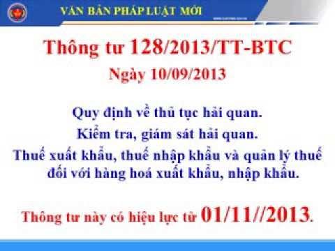 Thông tư 128/2013/TT-BTC ngày 10/09/2013