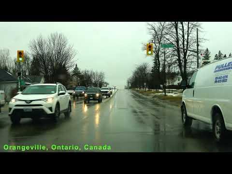 Driving In Orangeville Ontario Canada In Winter Rain 4K