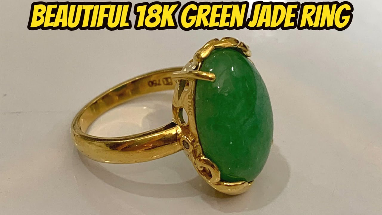 Green Jade Stone and 18K Gold Found Beach Metal Detecting