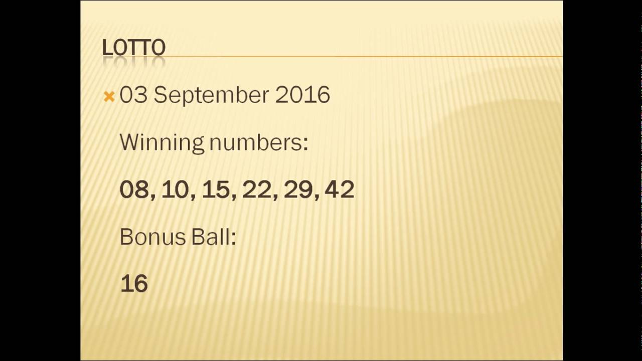 South Africa Lotto results - 03 09 2016