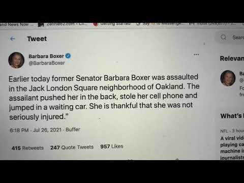 Barbara Boxer Former Senator Assaulted, Robbed In Oakland Jack London Square. Attacker Got Away