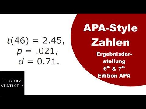 Checkliste Ergebnisdarstellung APA (6th & 7th Edition)