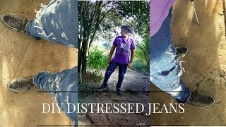 Hey guys in today's DIY i show you guys how to distress jeans witho...