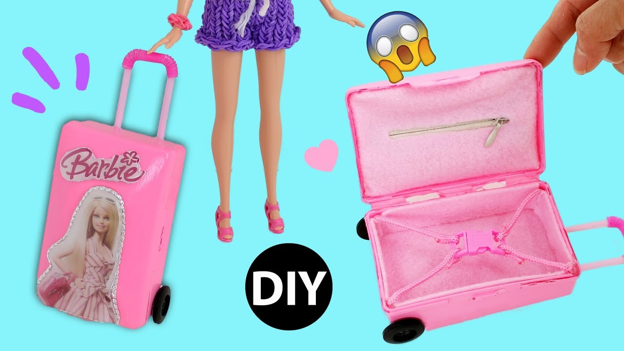 e9a254c29bac DIY Mini Suitcase for Doll/Dollhouse Accessories Miniature Barbie Rolling  Luggage