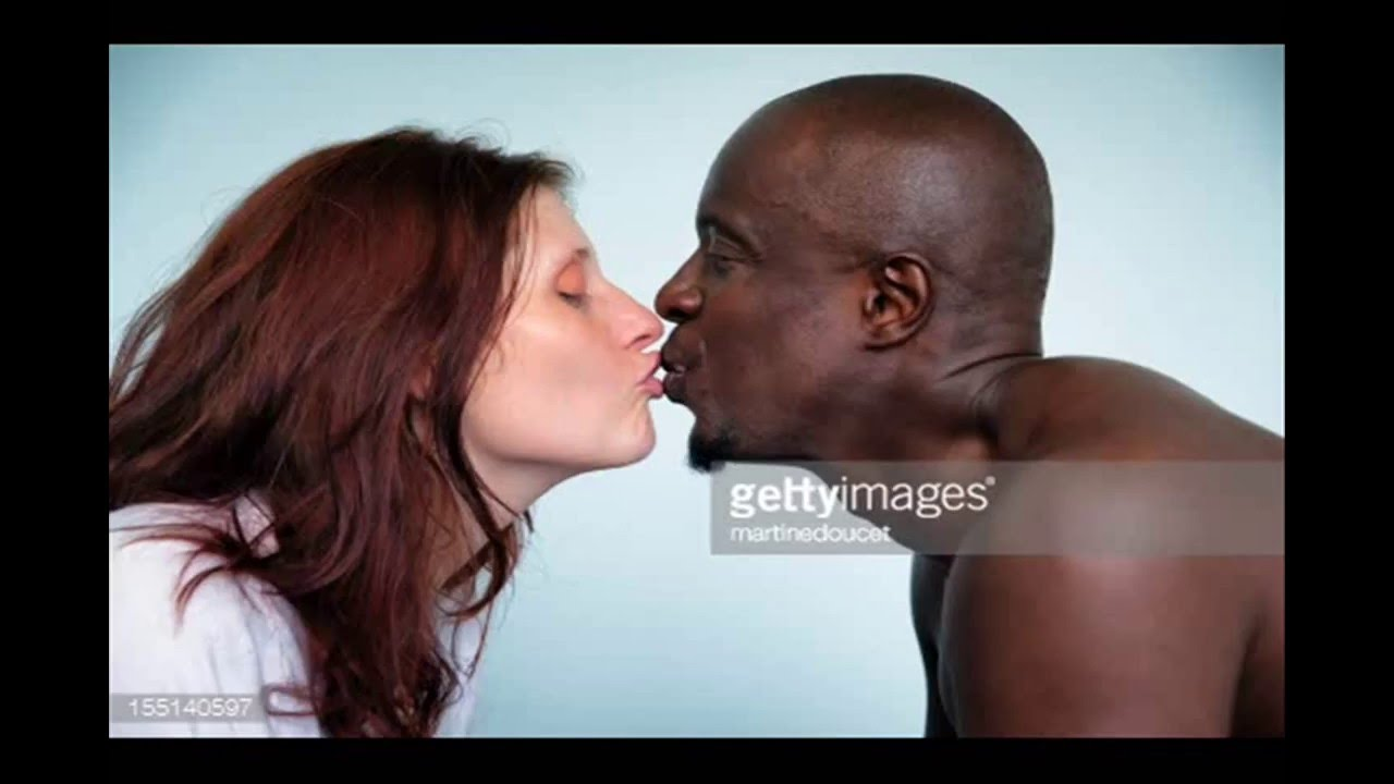 man white Black girl kissing