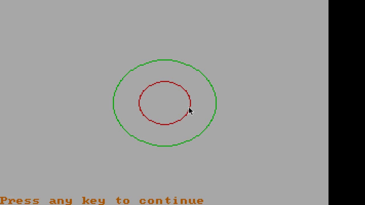 Write a program in Qbasic to draw three concentric circles on the screen  having different colors