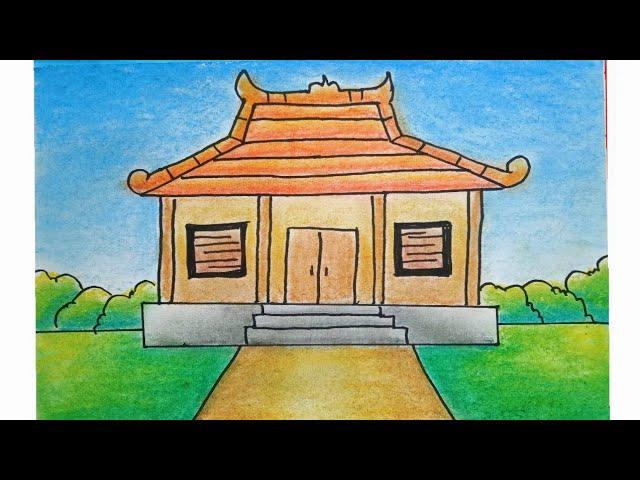 Cara Menggambar Dan Mewarnai Rumah Adat Joglo Youtube