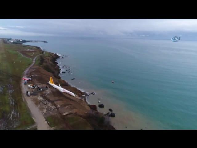 Trabzon'da Pistten Çıkan Uçak Havadan Görüntülendi