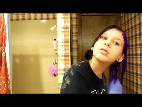 How To Dye Your Hair Half Purple Half Black(w/ Special Effects) Part Two:Dying Your Hair