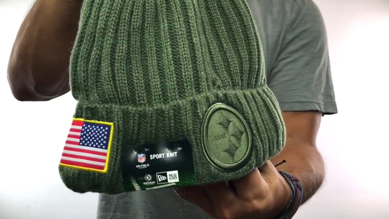Steelers  2017 SALUTE-TO-SERVICE  Knit Beanie Hat by New Era - YouTube 6ca05e2cf4bd