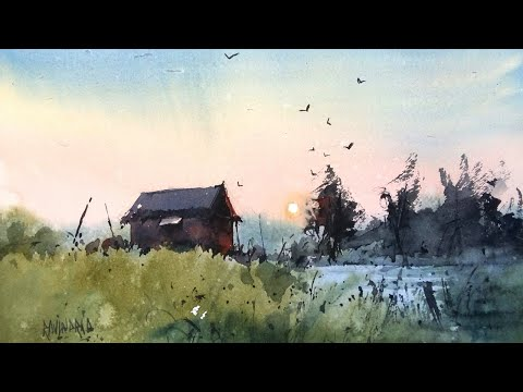 simple watercolour for beginners | landscape | demo