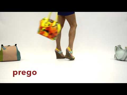 Босоножки на танкетке Prego | зелено - желтые Лето 2014 | Глянц Ботік Обуви и Сумок