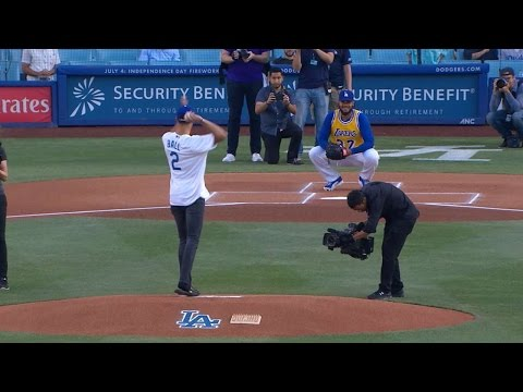 Lonzo Ball tosses first pitch