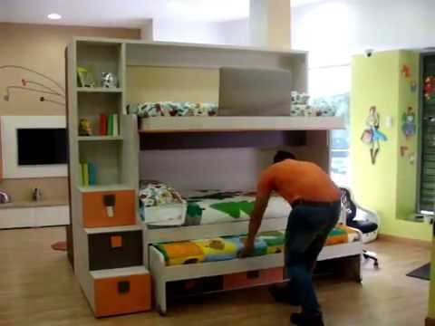 video explicativo funcionamiento litera triple con cama
