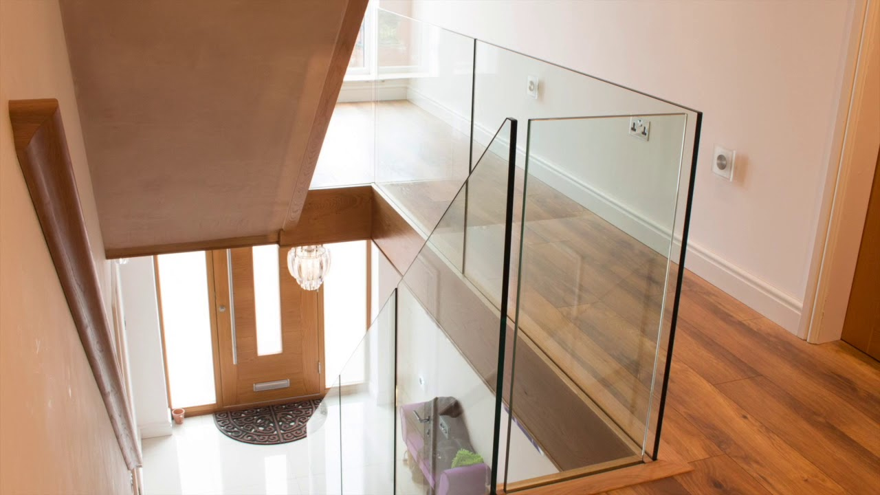 Frameless Glass Staircase Installation Youtube | Wood And Glass Banister | Grey | Before And After | Rustic Glass Interior | Concrete Stairs Wooden Glass | Acrylic