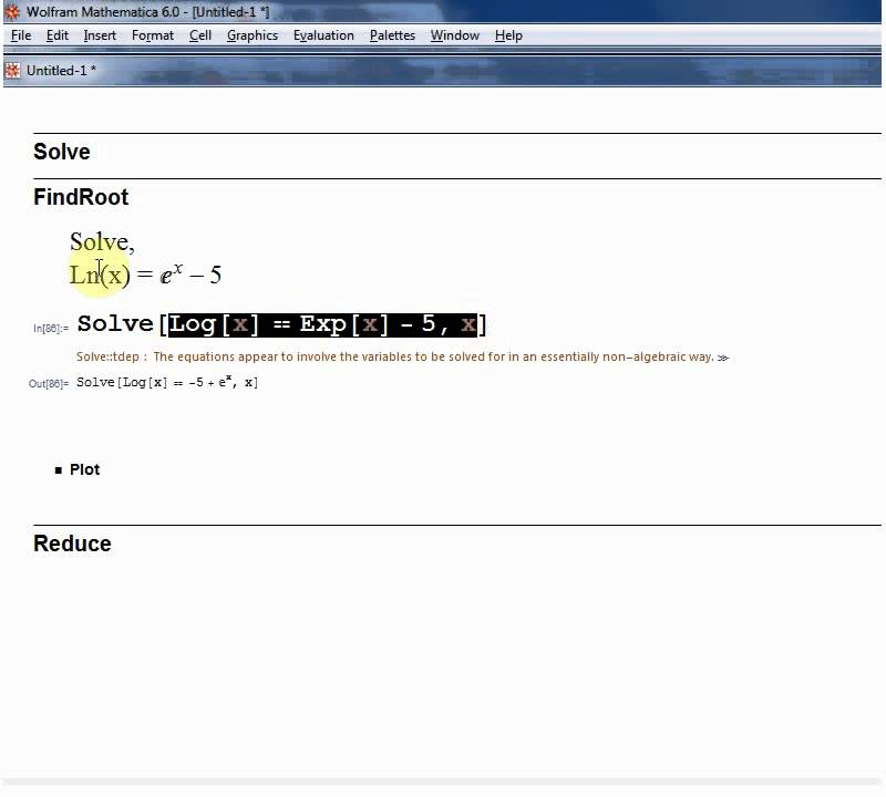 Solve Equations In Mathematica Using Solve Findroot And Reduce