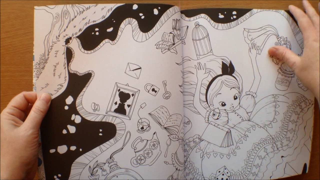 alice in wonderland colouring book with poster by fabiana attanasio flipthrough lewis carroll