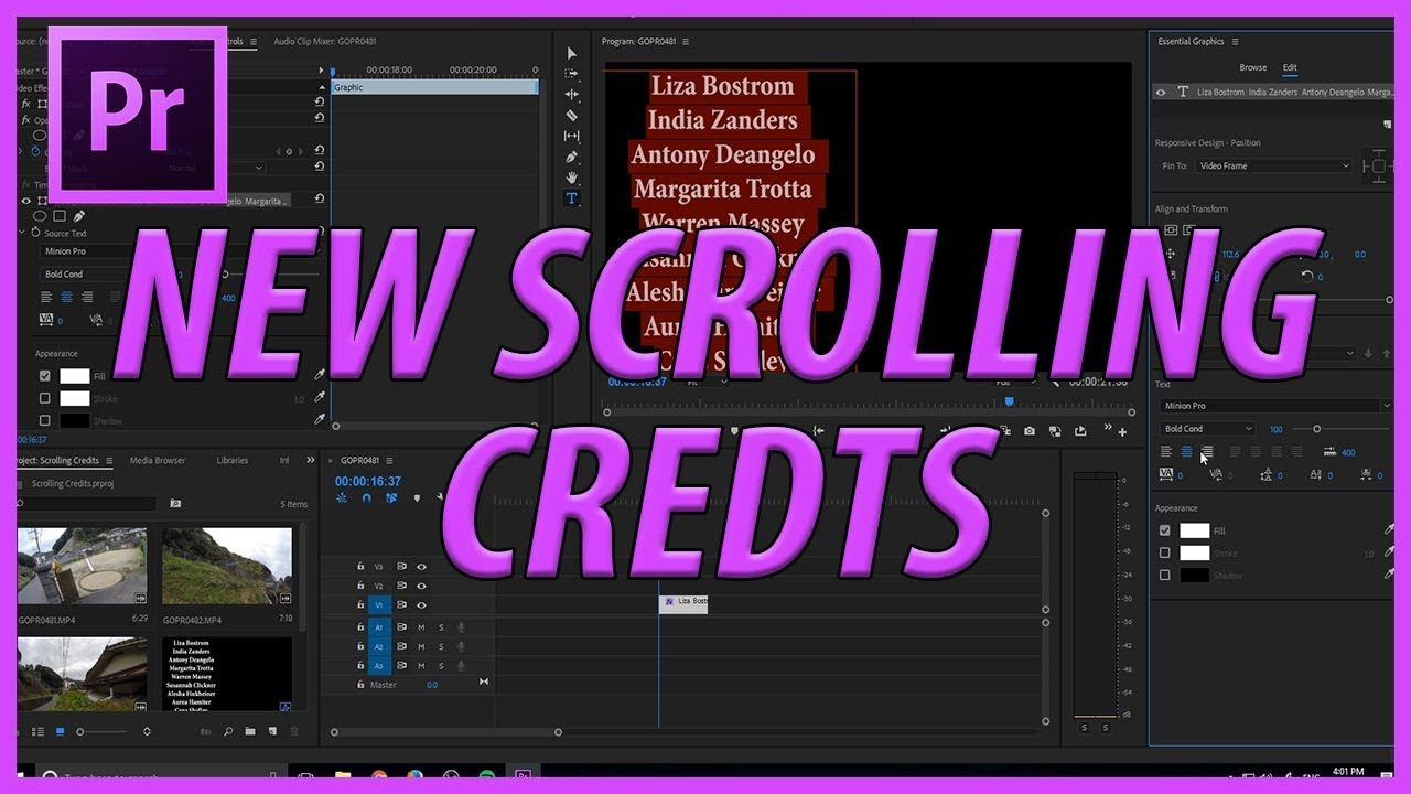 How To Create Scrolling Credits With Adobe Premiere Pro Cc 2018 With