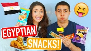 American Boyfriend & Girlfriend Taste Test Egyptian Snacks! | Trending With Tori